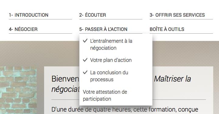 Le menu de navigation.